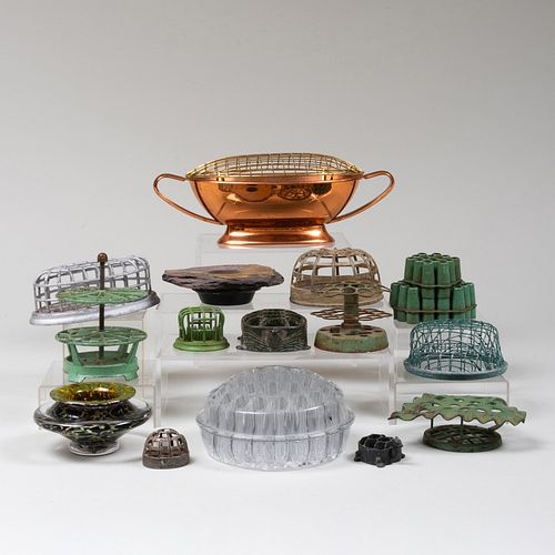 Group of Fifteen Glass and Metal Flower Frogs