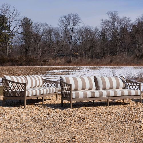 Pair of Restoration Hardware Teak and Upholstered Outdoor Settees, The Greystone Collection