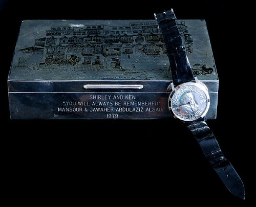 Important King Saud Chopard Watch w/Silver Box