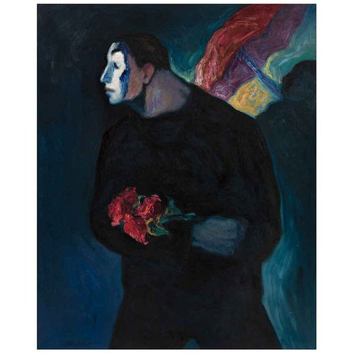 """ALFREDO ALCALDE GARCÍA, Mimo con flores, Signed on front and dated 2020 on back, Oil/linen, 39.3 x 31.8"""" (100 x 81 cm), Copy of certificate"""