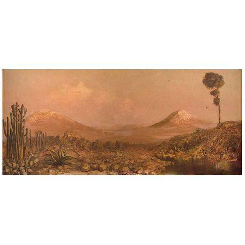 "GUILLERMO GÓMEZ MAYORGA, Los volcanes, ca. 1925, Signed, Oil on canvas, 19.8 x 43.5"" (50.5 x 110.6 cm), Certificate"