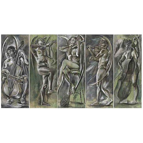 "FEDERICO CANTÚ, Quinteto ángeles músicos, Unsigned, Tempera on wood, Polyptych, 72 x 27.5"" (183 x 70 cm) each, 72 x 137.7"" (183 x 350 cm) total, Piece"