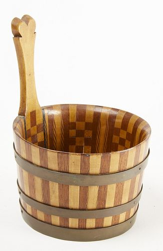 Inlaid Treen Bucket with Heart Handle