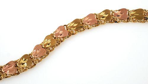 14K Rose Gold Heart Bracelet