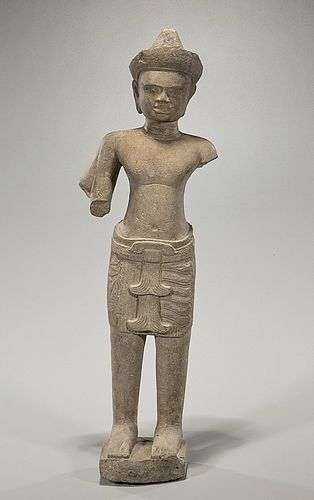 Khmer Carved Stone Figure