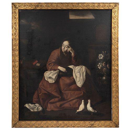 """IN STYLE OF FRANCISCO DE ZURBARÁN (1598-1664) LA CASA DE NAZARETH Oil on canvas 61 x 51.1"""" (155 x 130 cm)"""