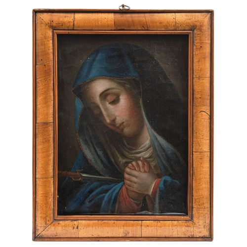 """OUR LADY OF SORROWS MEXICO, 18TH CENTURY Oil on canvas Conservation and restoration details 14.1 x 10.2"""" (36 x 26 cm)"""