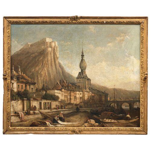 """FLEMISH SCHOOL VISTA DE CIUDAD 19TH CENTURY Oil on canvas 38.5 x 49.2"""" (98 x 125 cm)"""