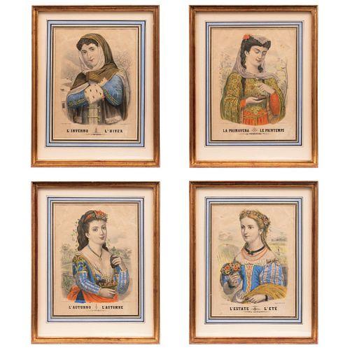 "CARLO VERDONI  (TORINO, ITALY, ACTIVE SINCE 1874) CUATRO ESTACIONES Lot of 4 colored lithographs 15.3 x 11.8"" (39 x 30 cm)"