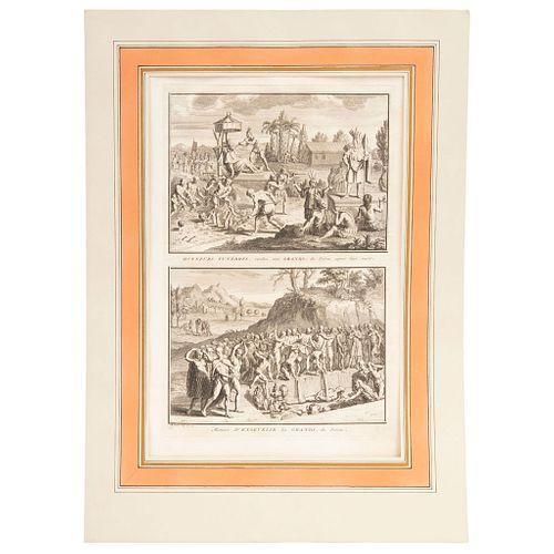 """BERNARD PICART CÉRÉMONIES ET COUTUMES RELIGIEUSES DE TOUS LES PEUPLES DU MONDE Lot of 19 engravings 16.5 x 11.8"""" (42 x 30 cm)"""