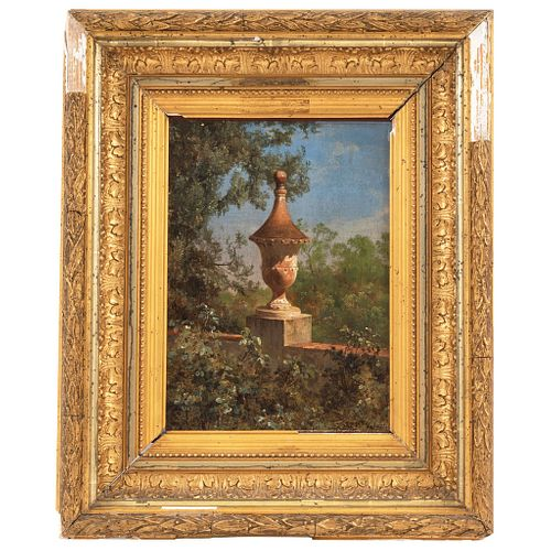 """JOSÉ MARÍA VELASCO (MEXICO, 1840-1912)  MACETÓN DEL BAÑO DE LOS PESCADITOS, 1889  Oil on canvas 10.2 x 7"""" (26 x 18 cm)"""