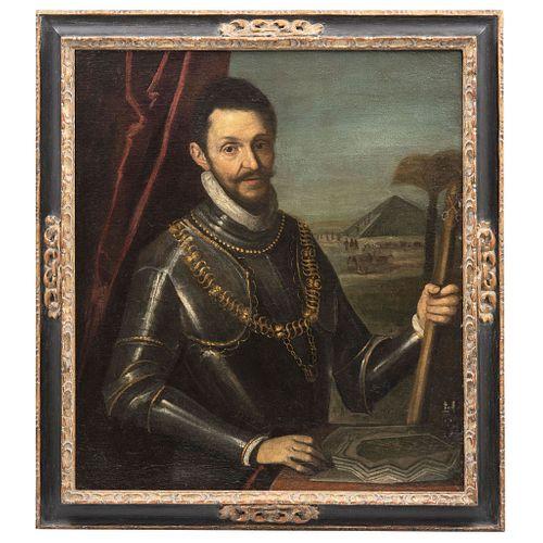 """RETRATO DE PERSONAJE CON ARMADURA Y PAISAJE CON PIRÁMIDE, VENETIAN SCHOOL, LATE 16TH CENTURY Oil on canvas 36.2 x 32.2"""" (92 x 82 cm)"""