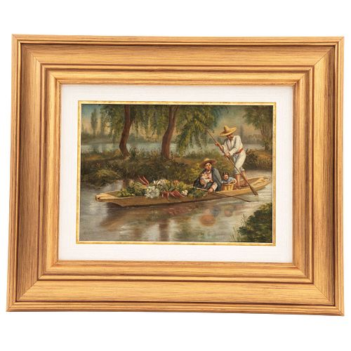 "CHAPMAN, CONRAD WISE (USA 1842-1910) XOCHIMILCO Signed WChapman Oil on canvas 7.4 x 10.2"" (19 x 26 cm)"