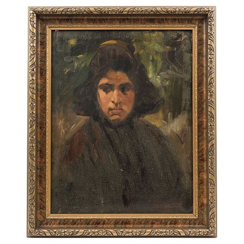 "GERMÁN GEDOVIUS (MEXICO, 1867 - 1937) RETRATO DE DAMA Oil on canvas Signed and referred 23.4 x 18.1"" (59.5 x 46 cm)"