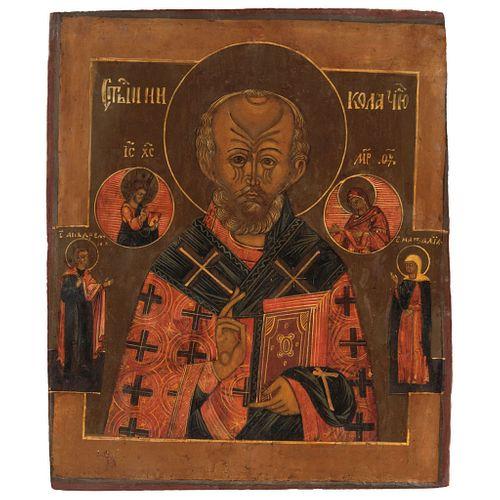 "ICON ST NICHOLAS OF BARI RUSSIA, 19TH CENTURY Oil on wood 12.2 x 10.4"" (31 x 26.5 cm)"