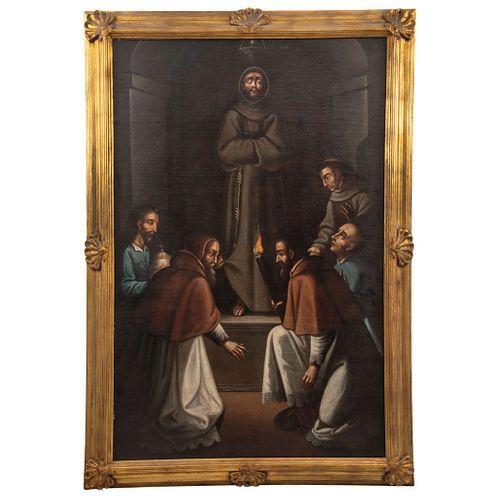 """SIGNED CORREA (1666) MEXICO HALLAZGO DEL CUERPO DE SAN FRANCISCO Oil on canvas 64.9 x 3.9 x 42.1"""" (165 x 10 x 107 cm)"""