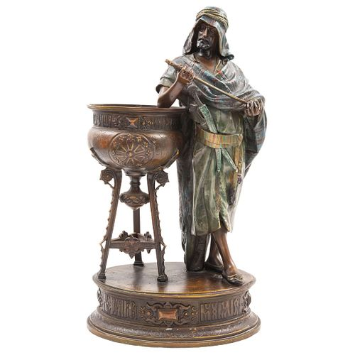 "DESPUÉS DE LOUIS HOTTOT  FRANCE, (1829-1905) Made in polychrome bronze Signed L. Hottot 12.4 x 10.8""  (31.5 x 27.5 cm)"