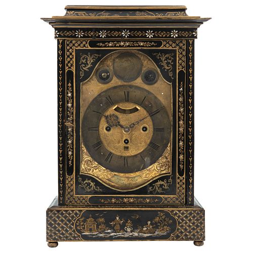 """CHIMNEY CLOCK Chinoiserie Lacquered and hand painted wood Conservation details 19.6 x 11 x 6.2"""" (50 x 28 x 16 cm)"""