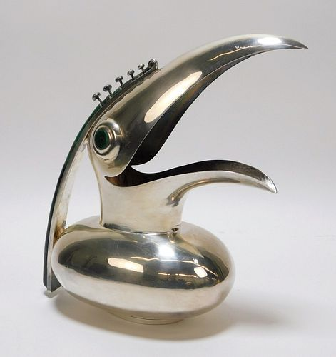 Los Castillo Silver Plate Toucan Ewer Pitcher