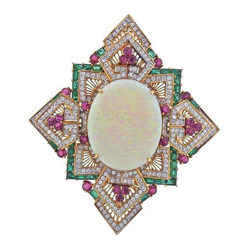18k Gold 5.40ctw Diamond Opal Ruby Emerald Large Pendant