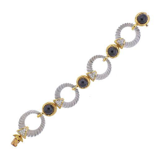 Boucheron Paris Diamond Onyx Crystal Gold Bracelet