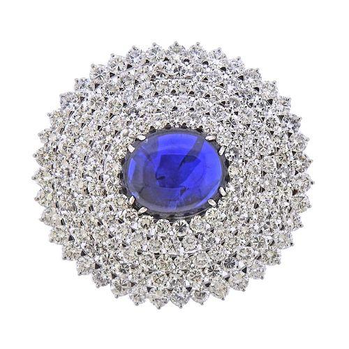 GIA 18.41ct Sapphire Cabochon 16ctw Diamond Platinum Brooch