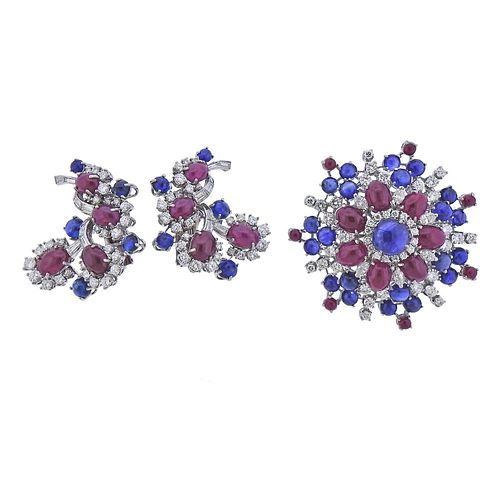 Petochi Roma Platinum Gold Diamond Ruby Sapphire Brooch Earrings Set