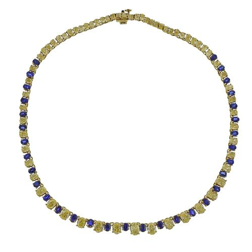GIA Natural Intense Fancy Yellow Diamond Sapphire Gold Necklace
