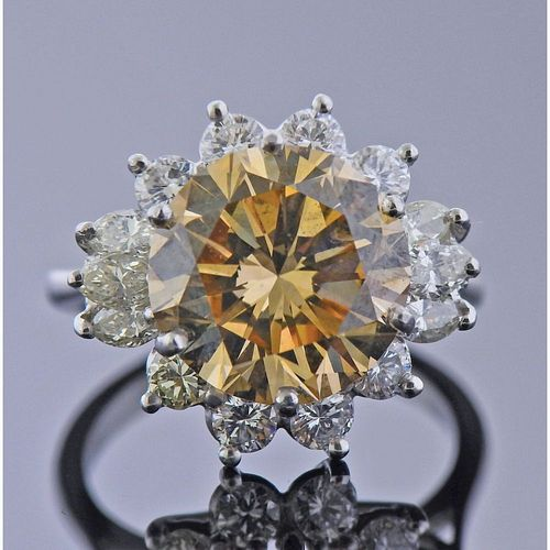 GIA 5.42ct Fancy VS2 Diamond Platinum Ring