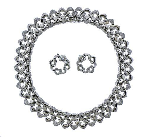 Bvlgari Bulgari 18k Gold Diamond Necklace Earrings Suite