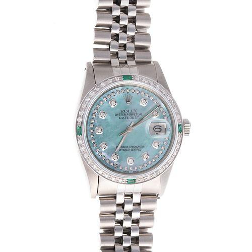 A Men's Rolex MOP Diamond Datejust Wrist Watch