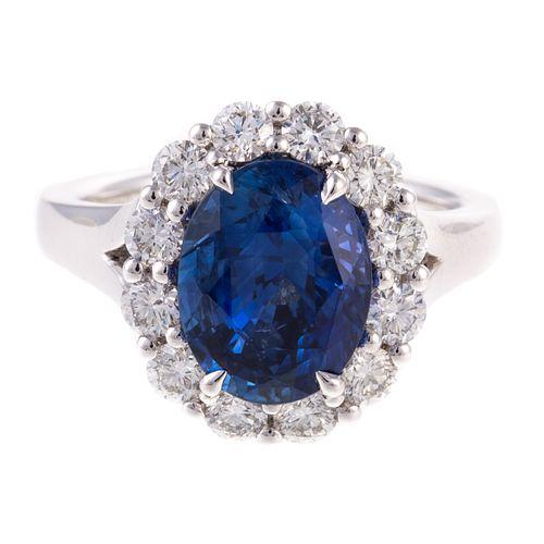 A 4.54 ct Ceylon Sapphire & Diamond Ring in Plat