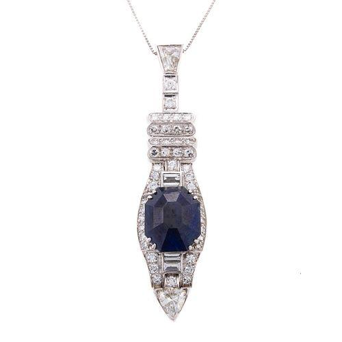 A GIA 4.19 ct Burmese Sapphire & Diamond Pendant