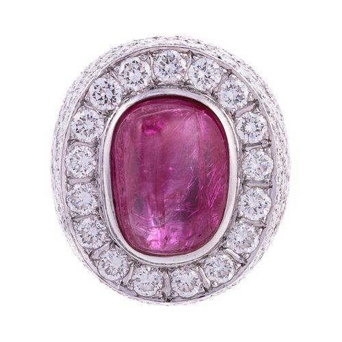 A Bold Unheated Burmese Ruby & Diamond Ring in 18K