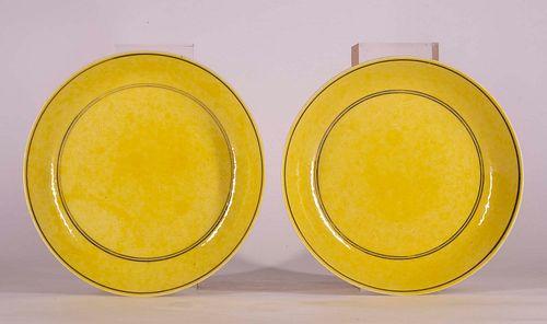 Pr. Imperial Yellow 'Dragon' Dishes Guangxu Mk & Period