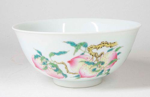 Famille Rose Enamel Sandou Bowl w/ Yongzheng Mk