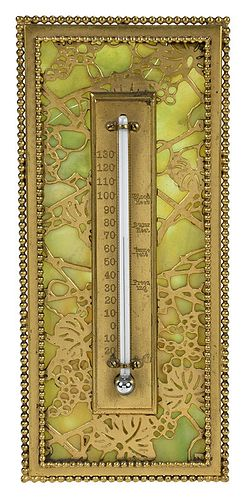 Tiffany Studios Glass and Bronze Thermometer