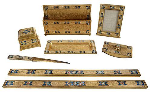 "Seven Piece Tiffany Bronze ""Double X"" Desk Set"