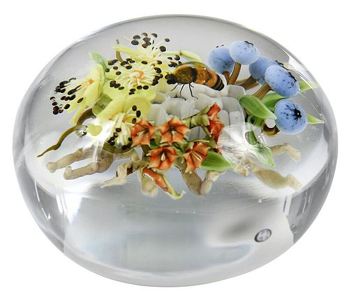 Paul J. Stankard Botanical Art Glass Paperweight