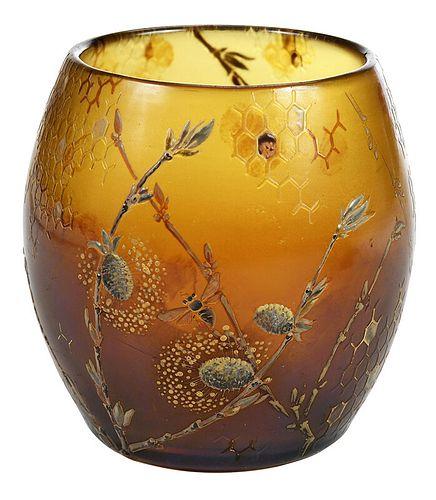 Galle Enameled Honey Bee Motif Art Glass Vase