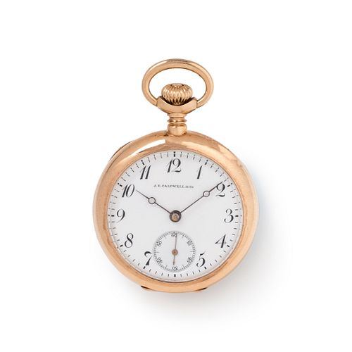 J.E. CALDWELL & CO., 14K YELLOW GOLD OPEN FACE POCKET WATCH