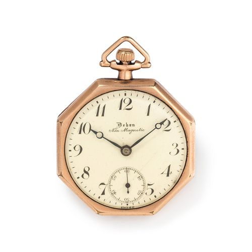DEBON WATCH CO., GOLD-FILLED OPEN FACE POCKET WATCH WITH FOB CHAIN