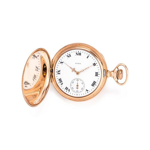 ELGIN, GOLD-FILLED HUNTER CASE POCKET WATCH