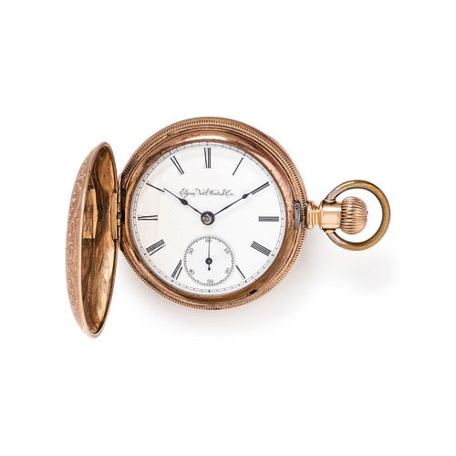 ELGIN, GOLD-FILLED HUNTER CASE POCKET WATCH WITH FOB CHAIN