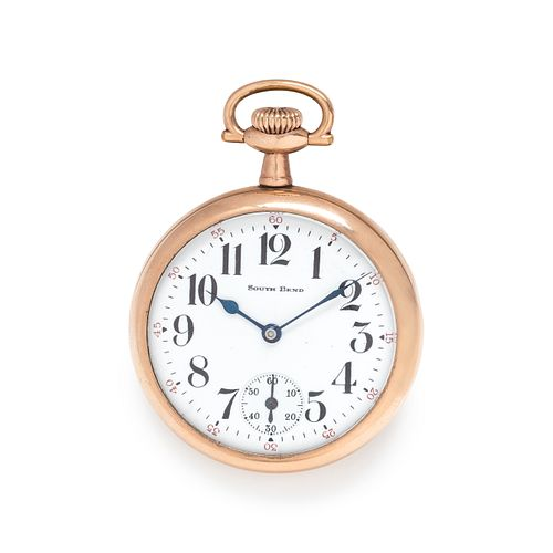 SOUTH BEND WATCH CO., GOLD-FILLED OPEN FACE POCKET WATCH