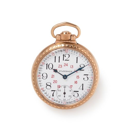 SOUTH BEND WATCH CO., GOLD-FILLED 'STUDEBAKER' OPEN FACE POCKET WATCH
