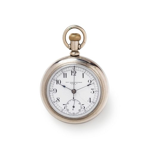 NEW YORK STANDARD WATCH CO., BASE METAL CHRONOGRAPH OPEN FACE POCKET WATCH
