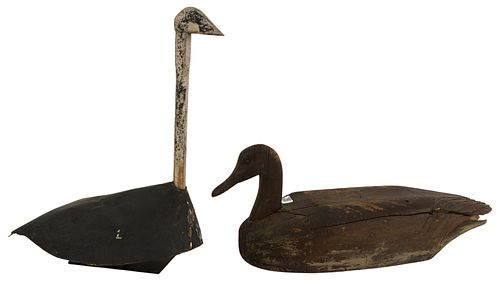 Two Carved Decoys to include carved wooden Canada goose decoy in brown paint, height 10 1/2 inches, length 28 inches, depth 8 inches; along with a pai
