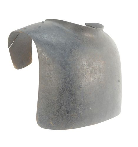 Steel Breastplate Armour having riveted seams, height 18 inches, width 16 inches, depth 11 inches.