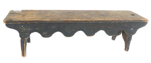 """Primitive Wood Mini Bench in old green/blue paint, height 7 1/4 inches, top 6 3/4"""" x 26""""."""